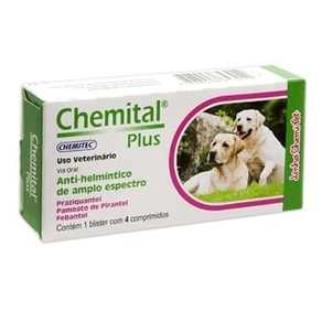 Vermífugo Chemitec Chemital Plus para Cães 660 mg - 4 comprimidos